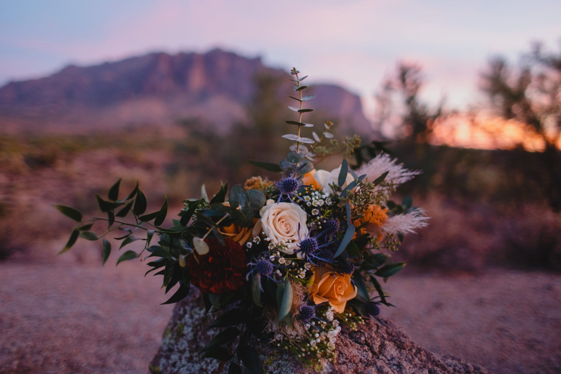 colorful textured bouquet in the desert by Form Floral AZ