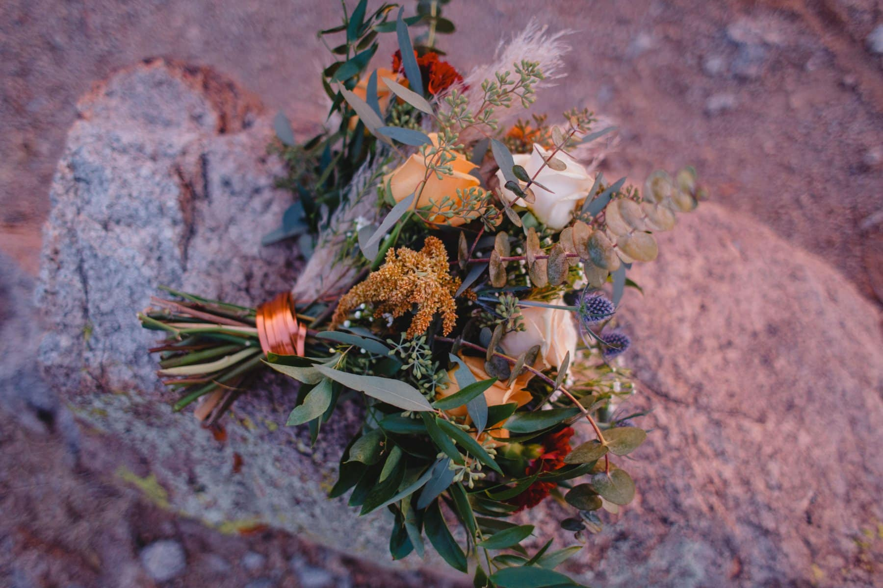 colorful textural bouquet in the desert by Form Floral AZ
