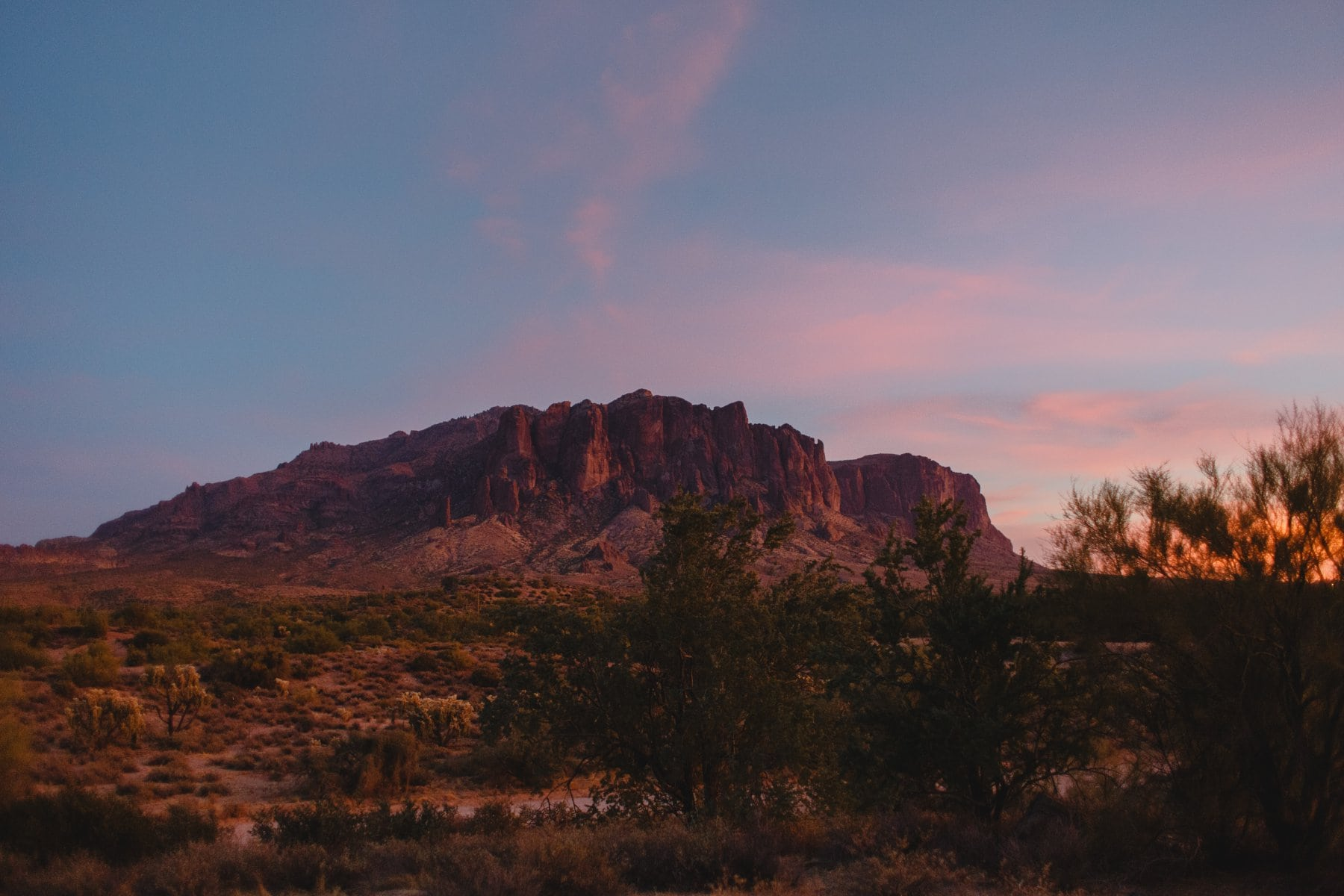 Superstition Mountains at sunset Arizona elopement locations