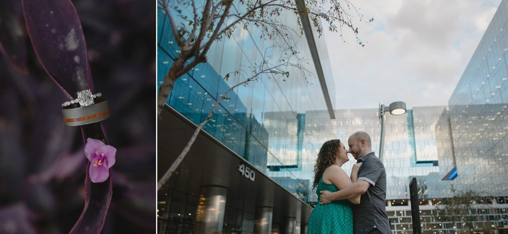 Tempe engagement session glass buildings