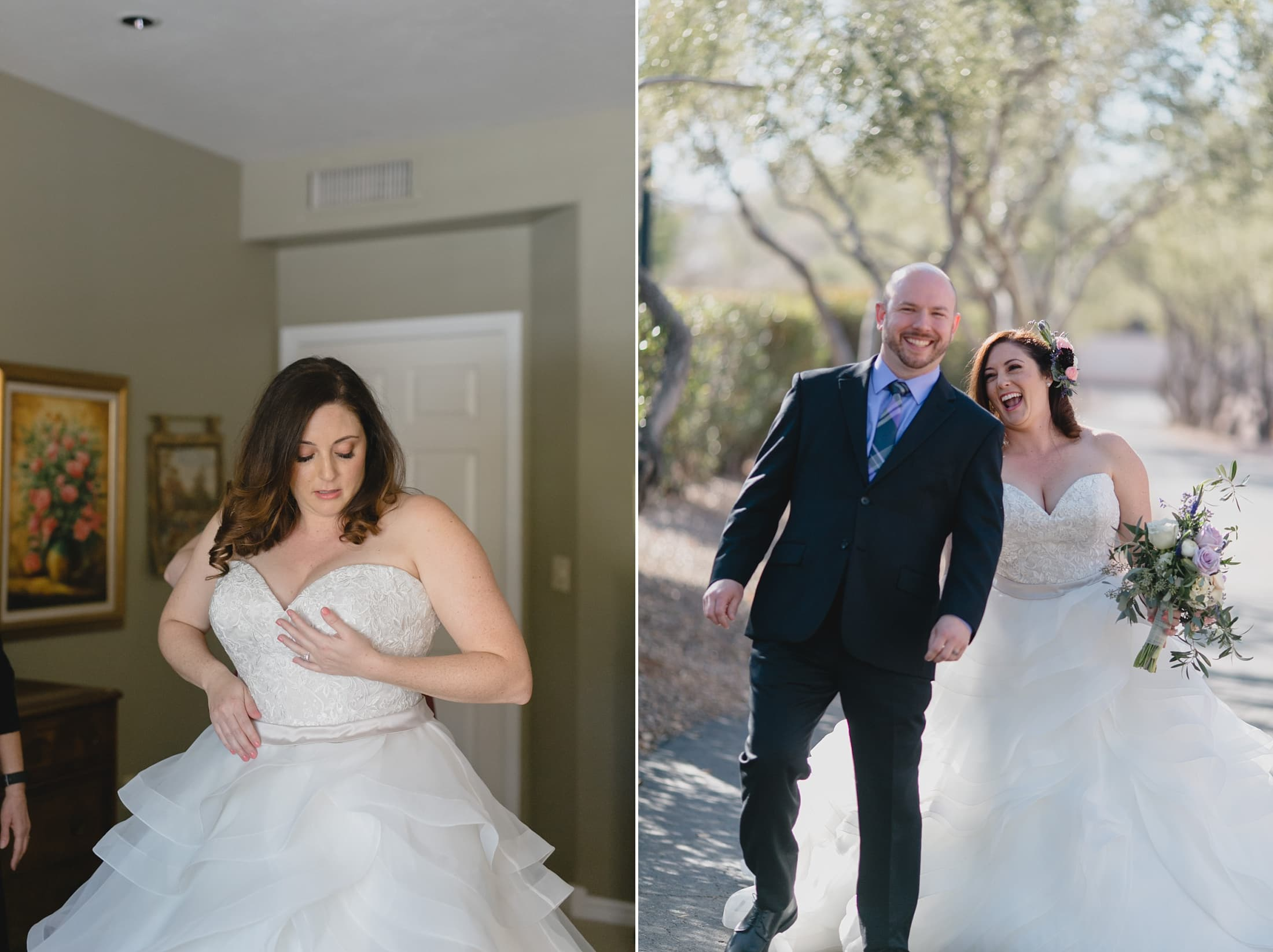 playful first look in Tempe wedding