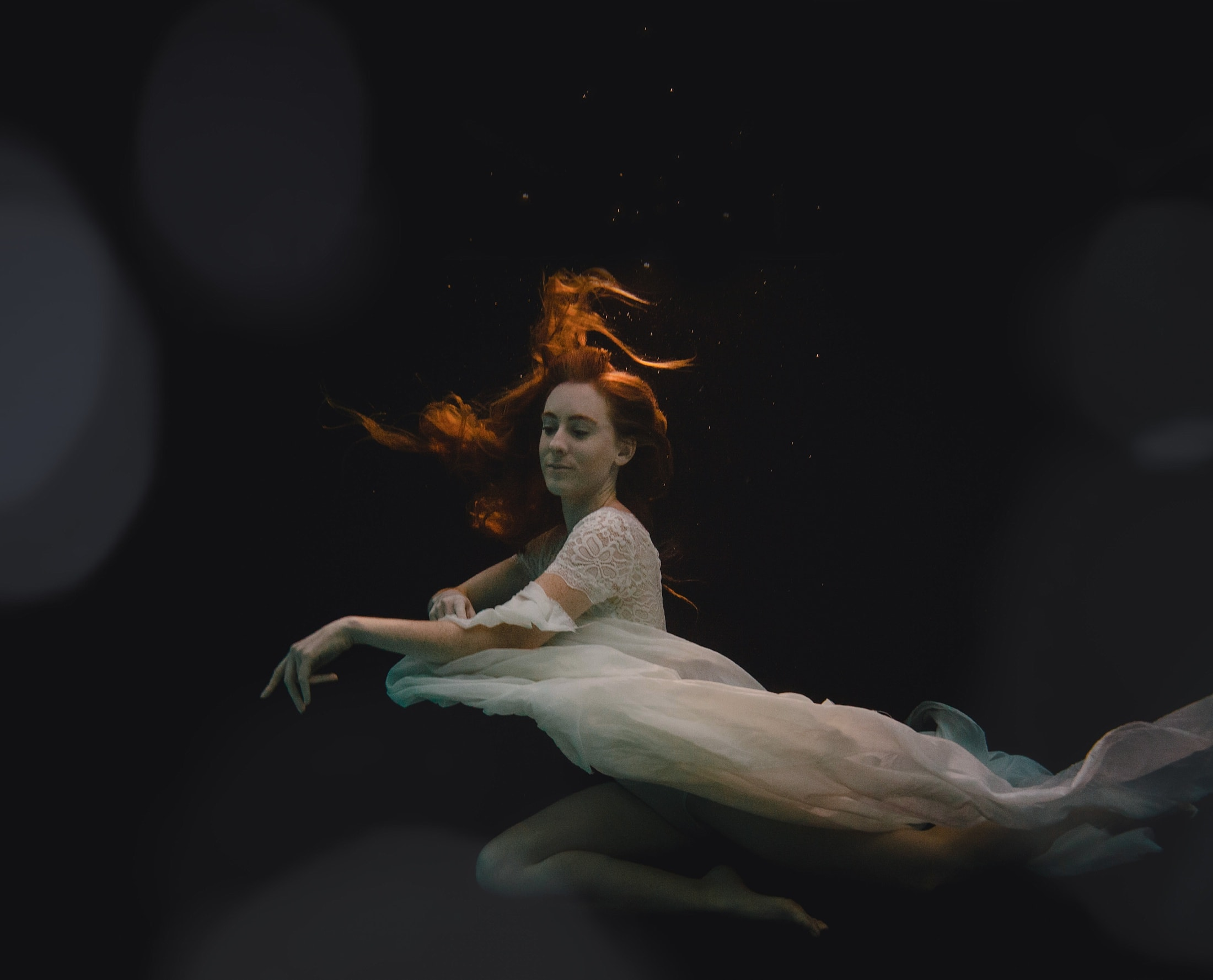 underwater dancer portraits in a pool