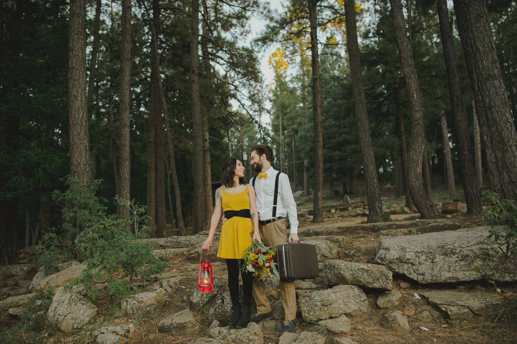 northern Arizona engagement session Wes Anderson inspired