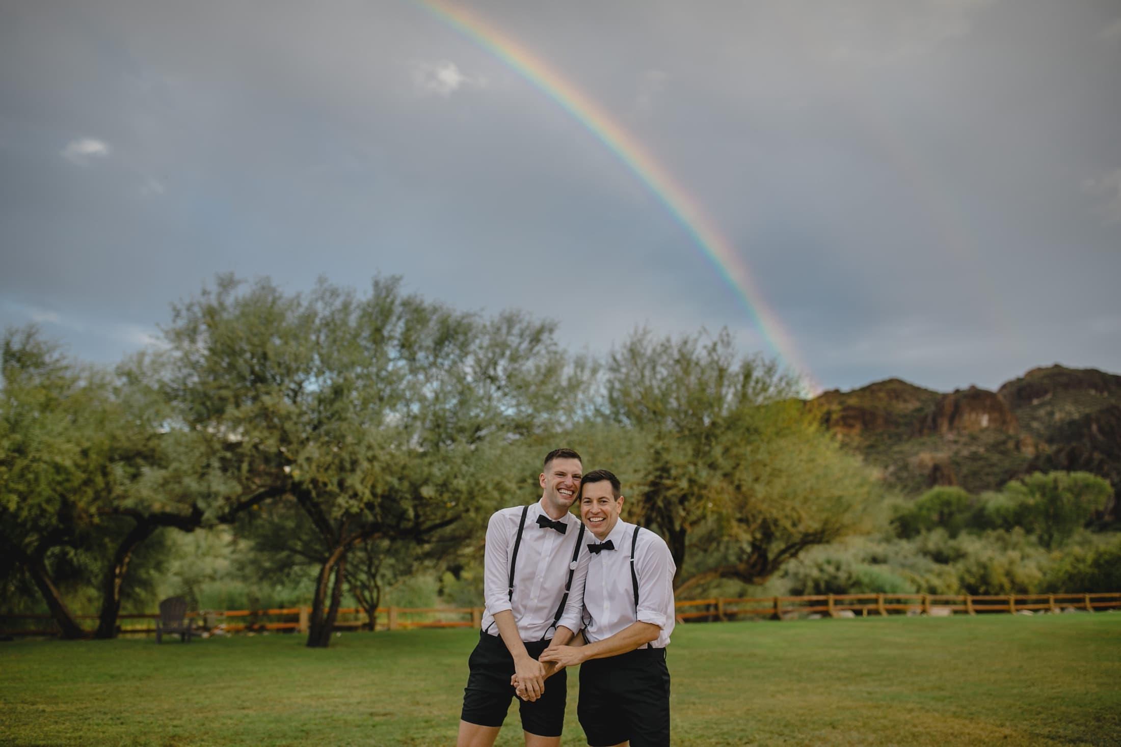gay wedding with rainbow Arizona wedding photographer