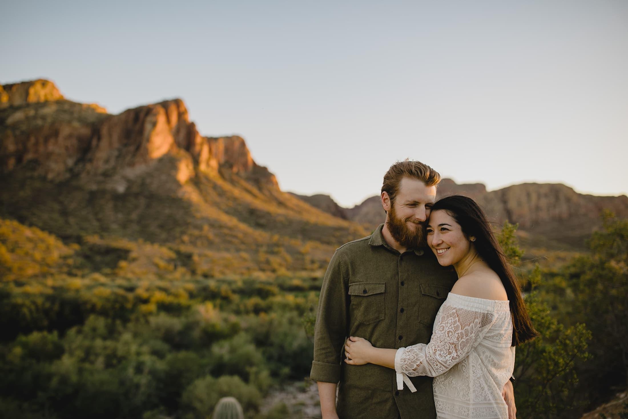 boho natural authentic engagement photos in Arizona