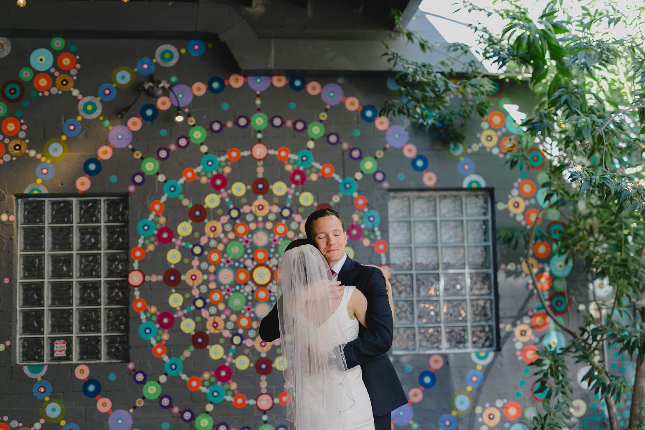 colorful downtown Phoenix wedding photos