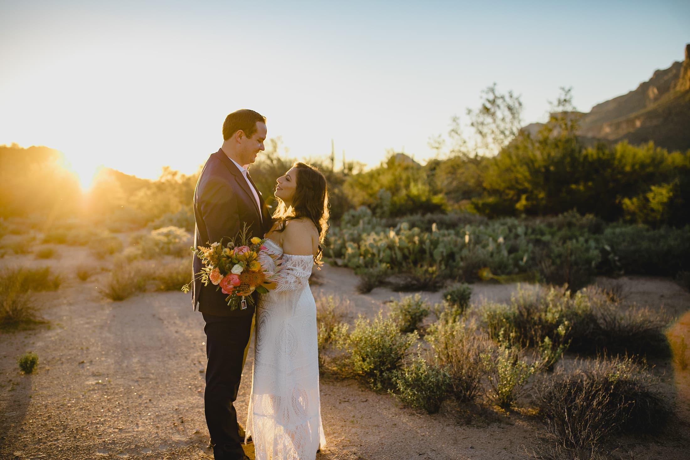 small boho desert wedding in Arizona