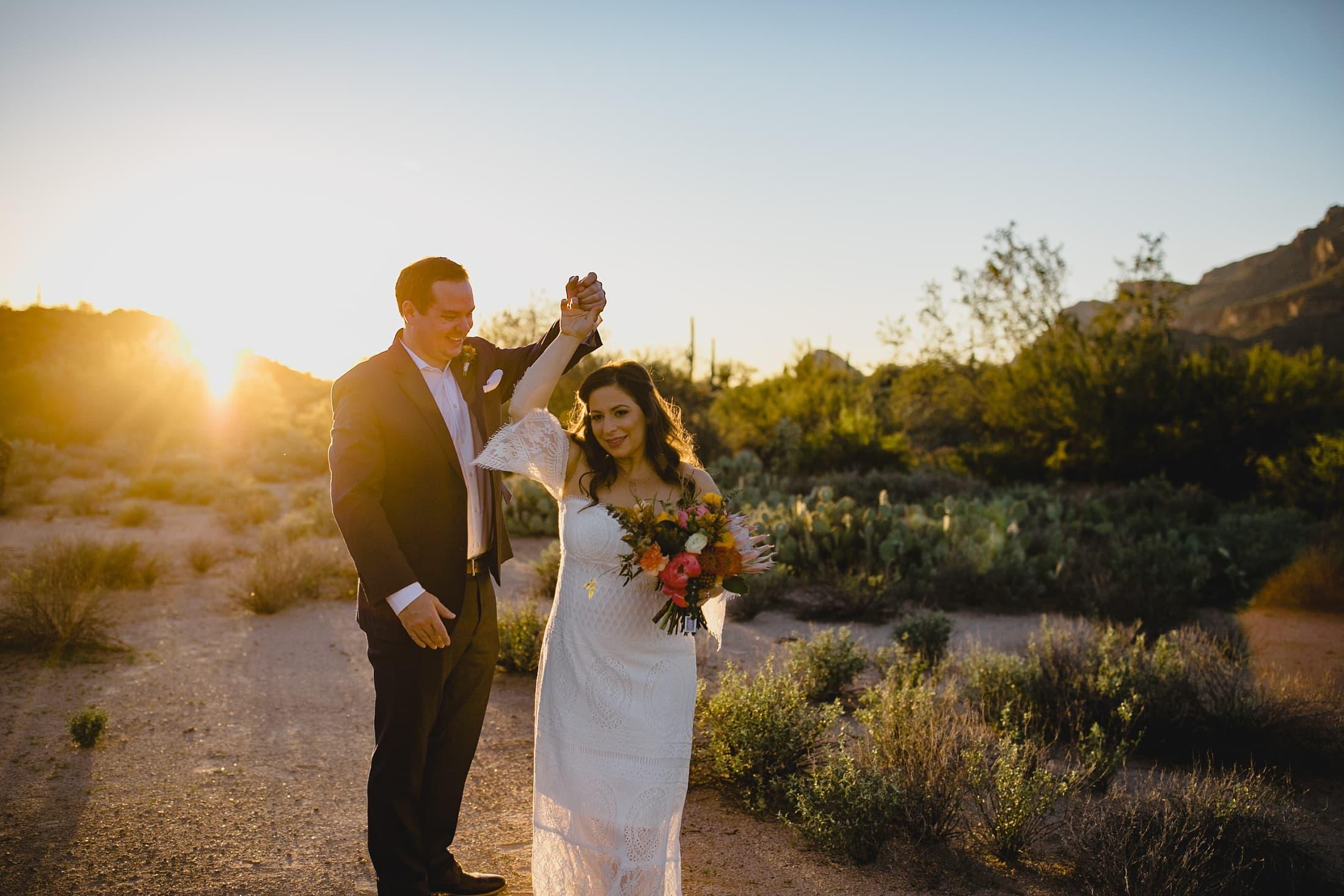 boho desert elopement in Arizona