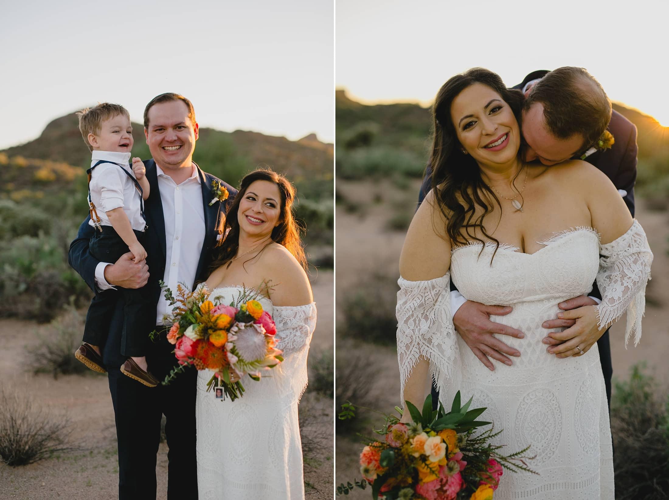 boho small wedding in Arizona desert