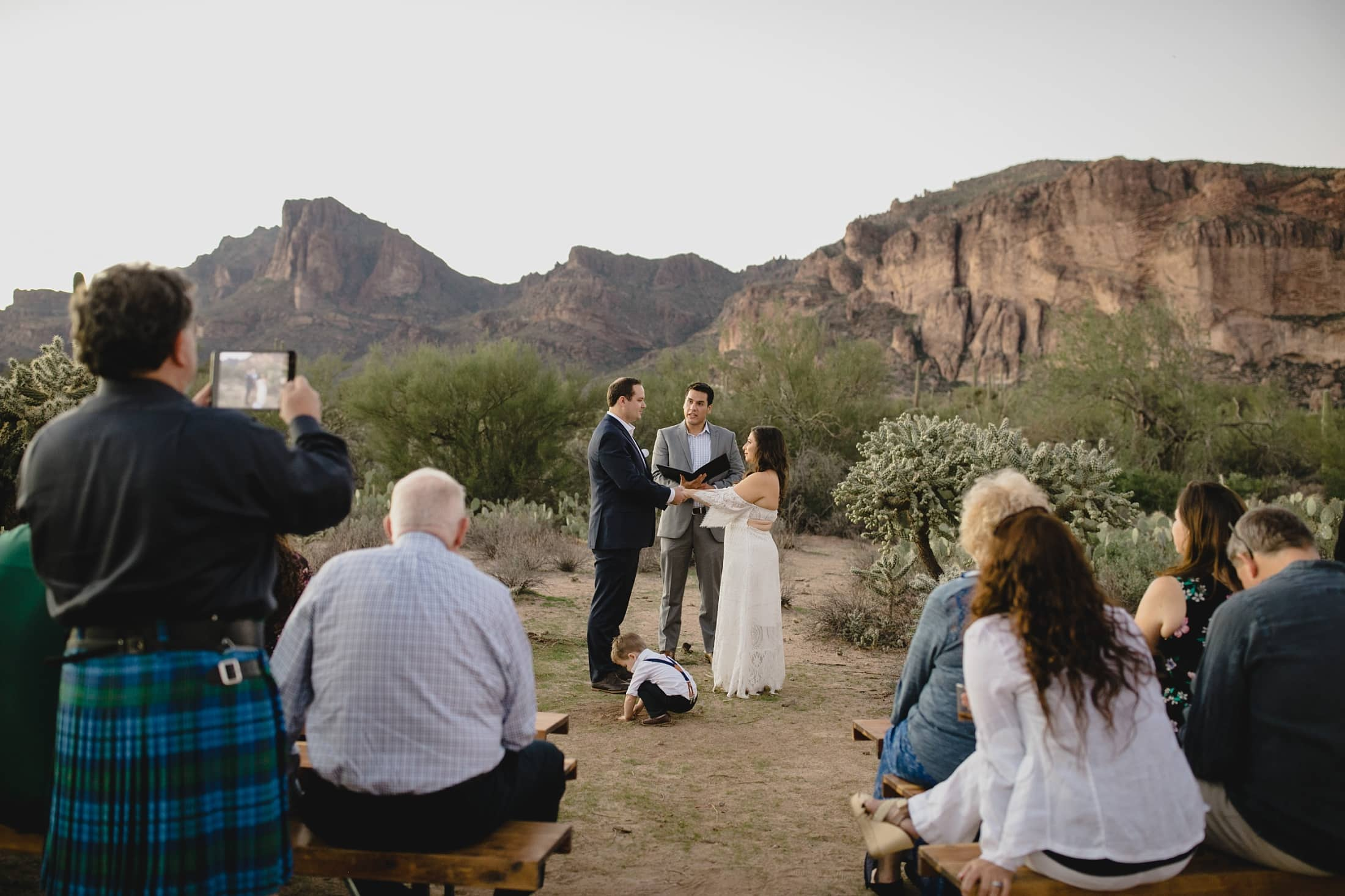 small intimate Arizona desert wedding in Superstion Mountains