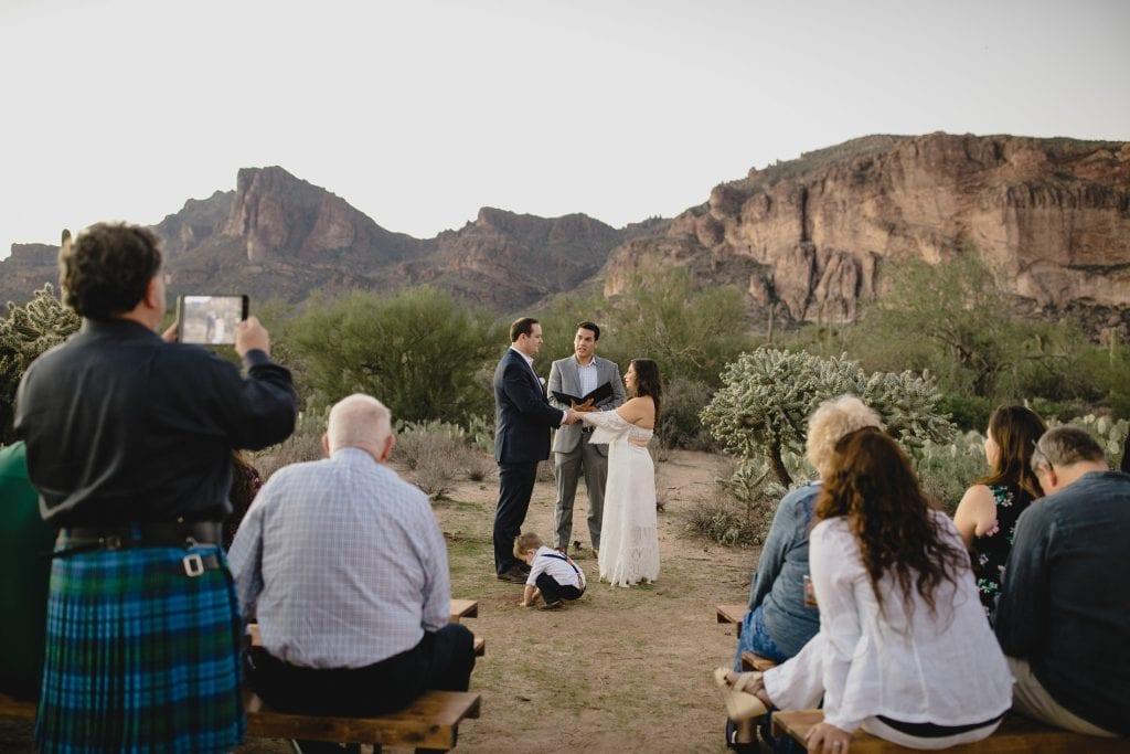 small wedding in the desert in AZ