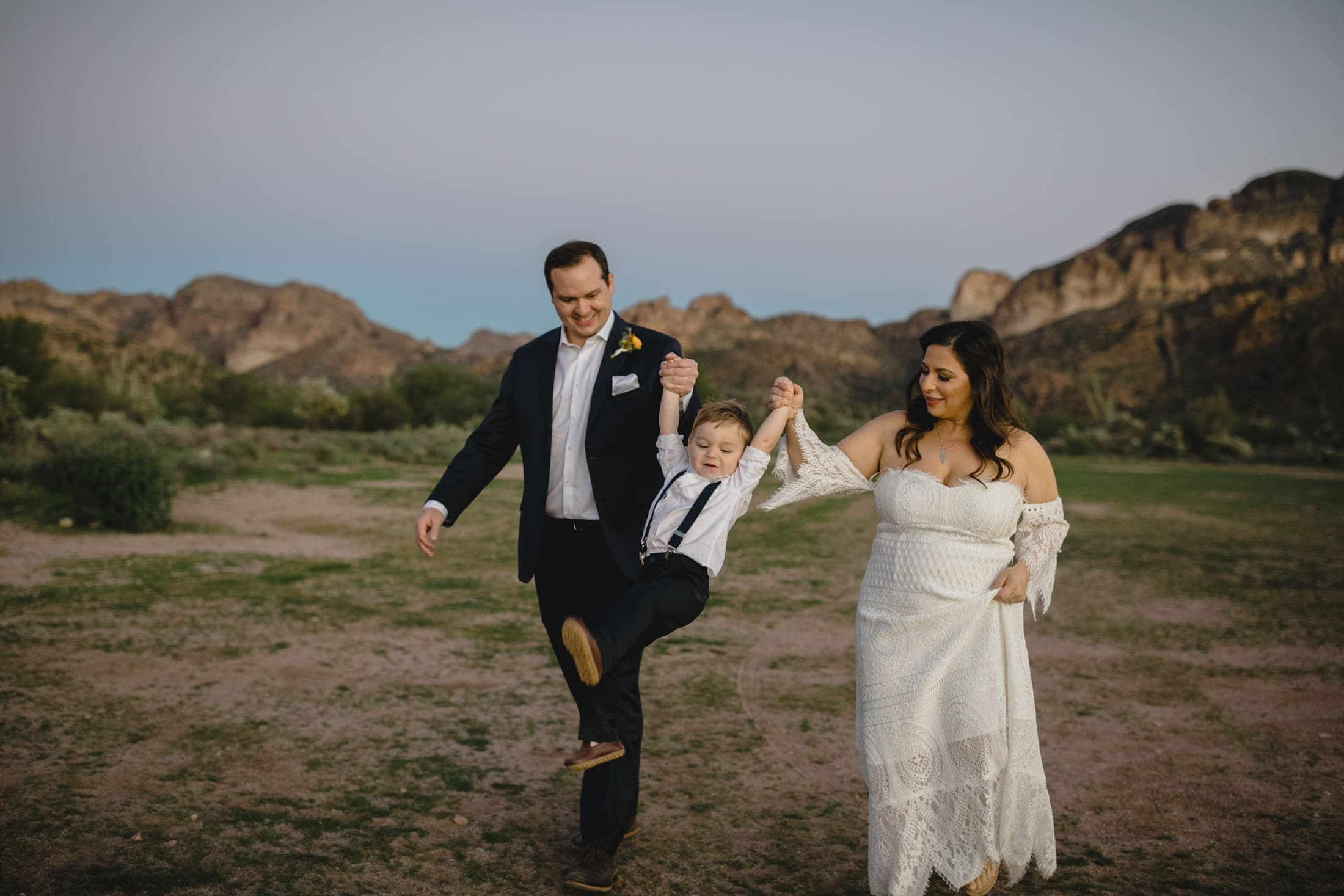 small wedding in Arizona bride and groom with kid