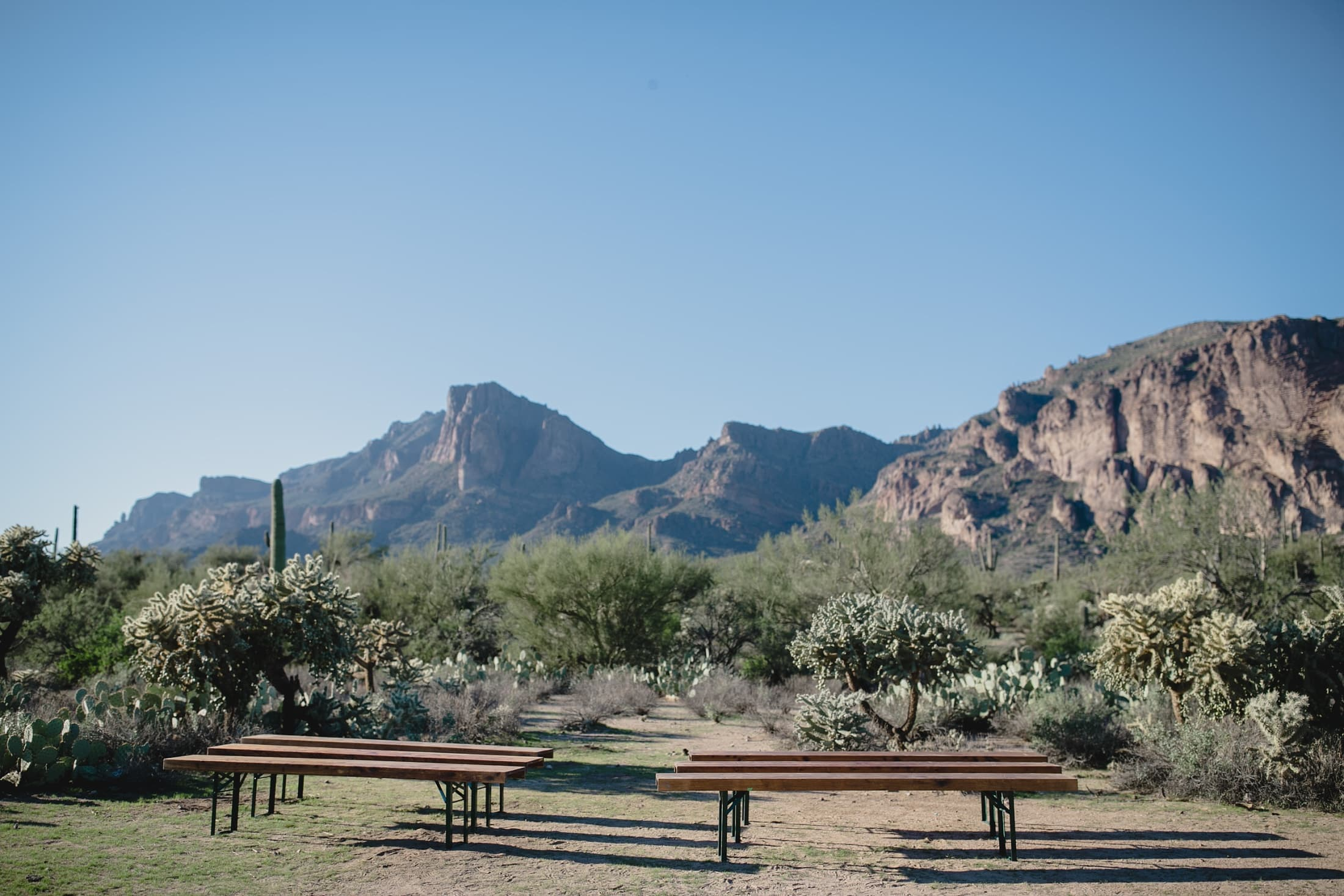 small intimate wedding in Arizona desert with mountains