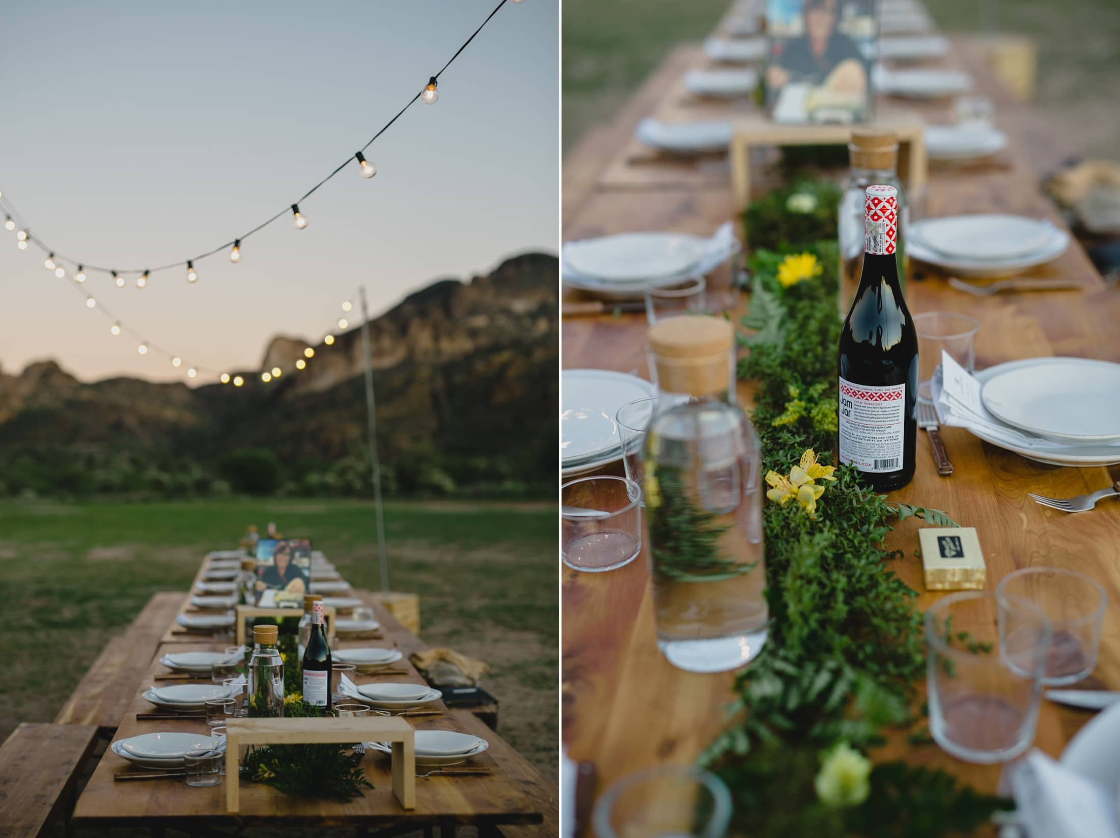 outdoor desert wedding in Arizona with wood tables and string lights