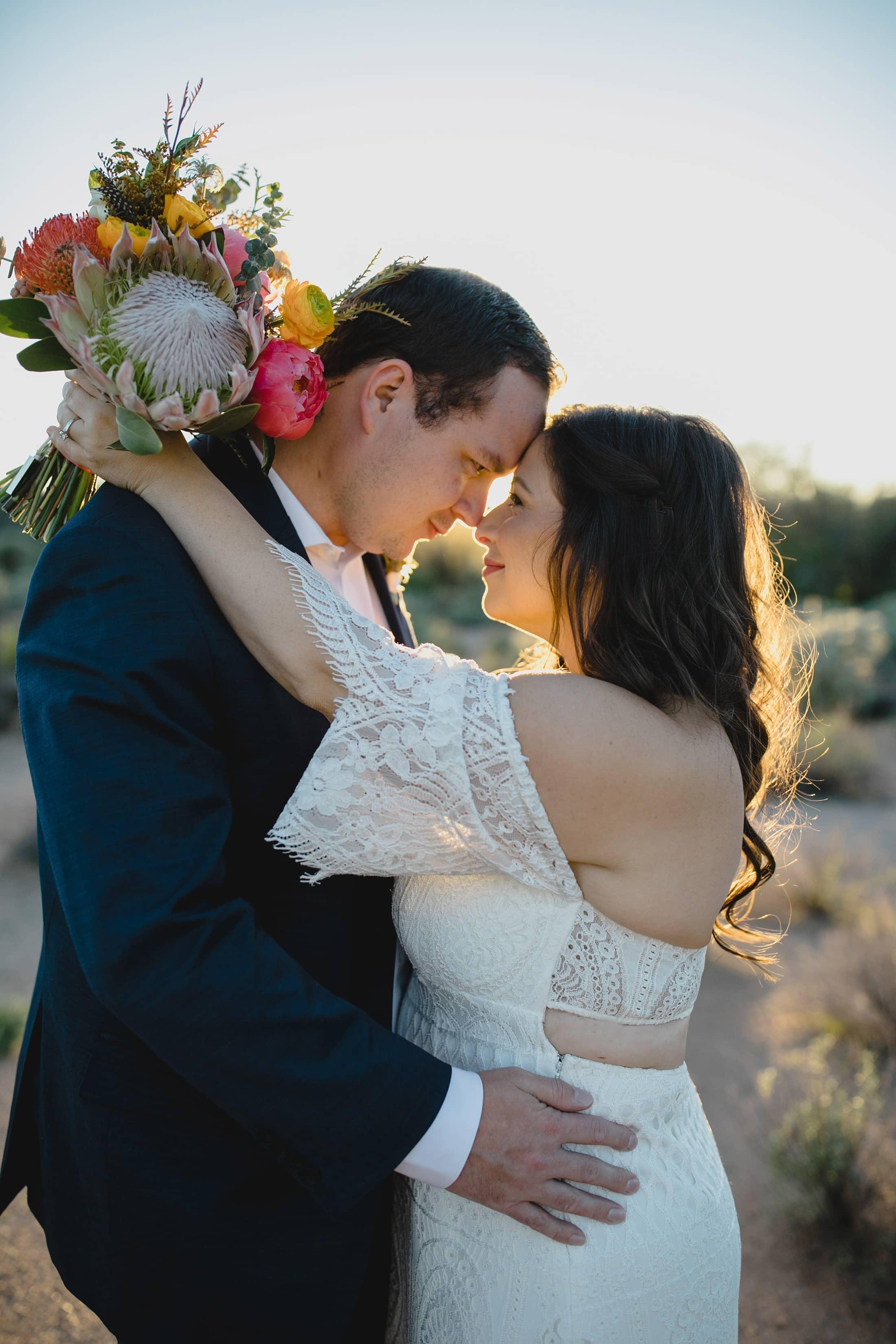 Arizona boho small wedding in desert
