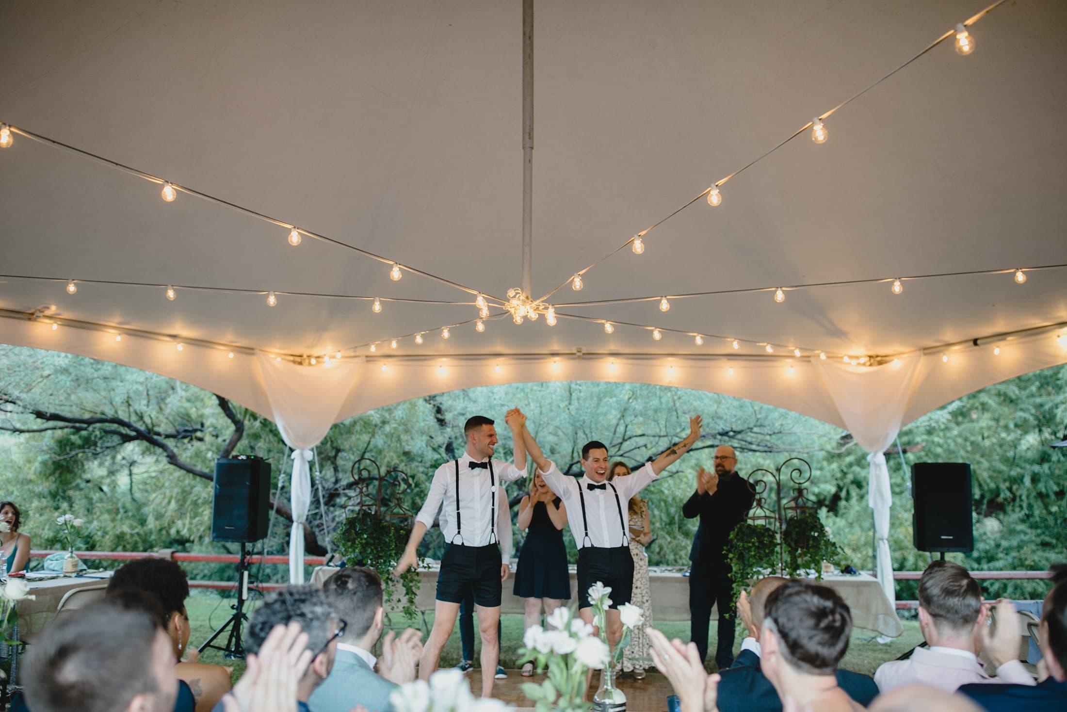 Saguaro Lake Ranch tented ceremony gay wedding