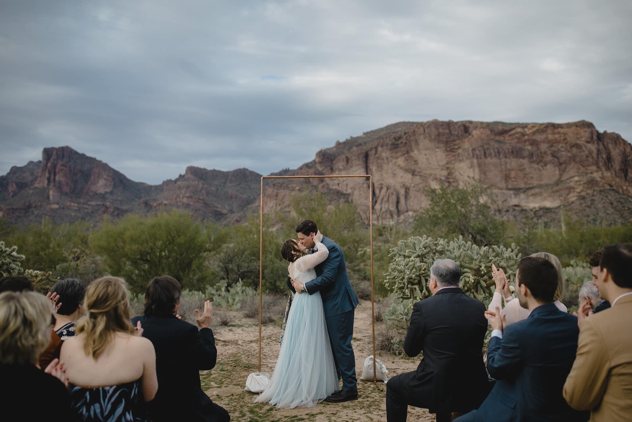 simple boho wedding in Arizona desert