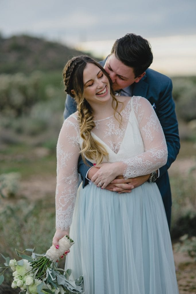 boho bride with blue and white wedding dress Arizona