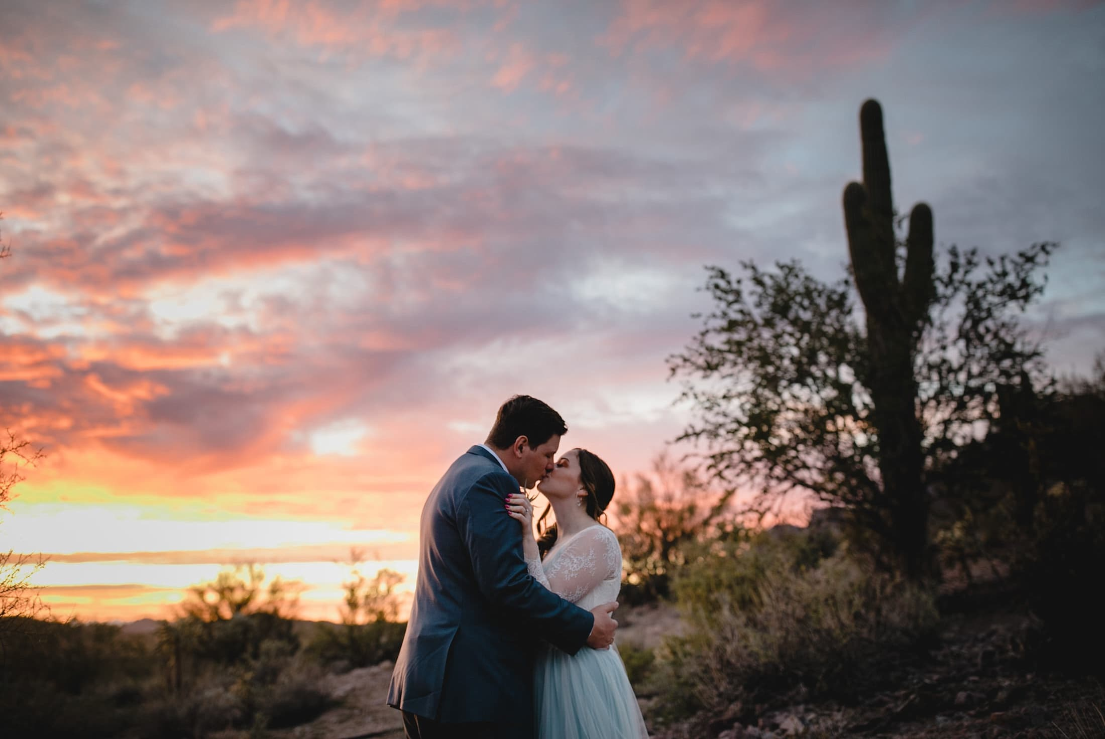 Arizona wedding colorful sunset