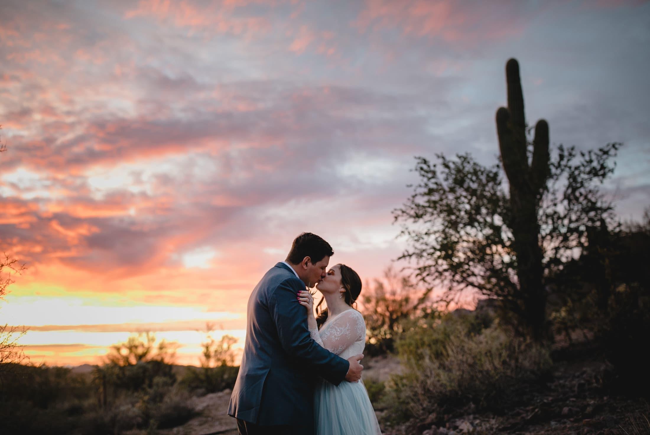 Arizona wedding colorful sunset