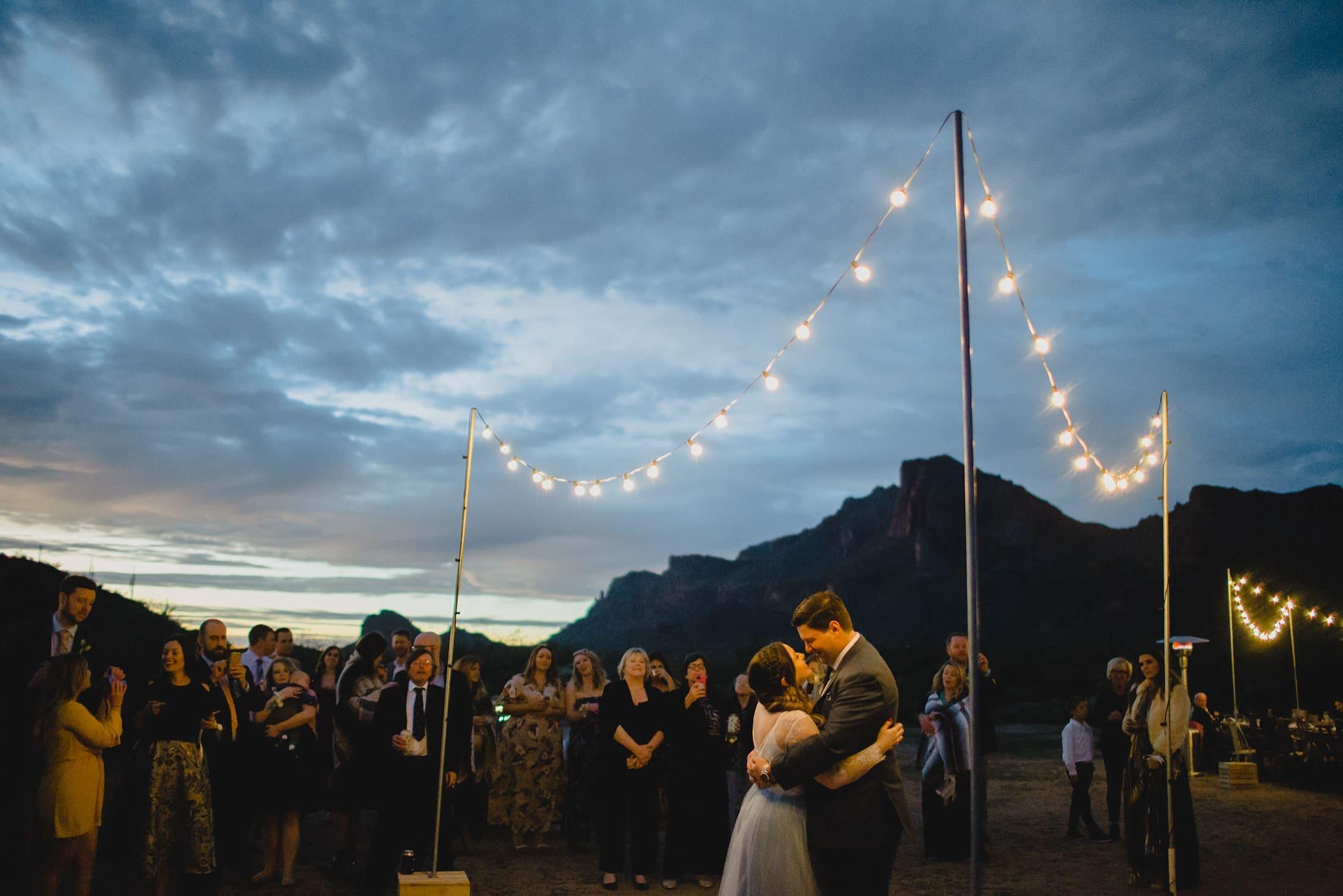 outdoor desert wedding in Arizona first dance