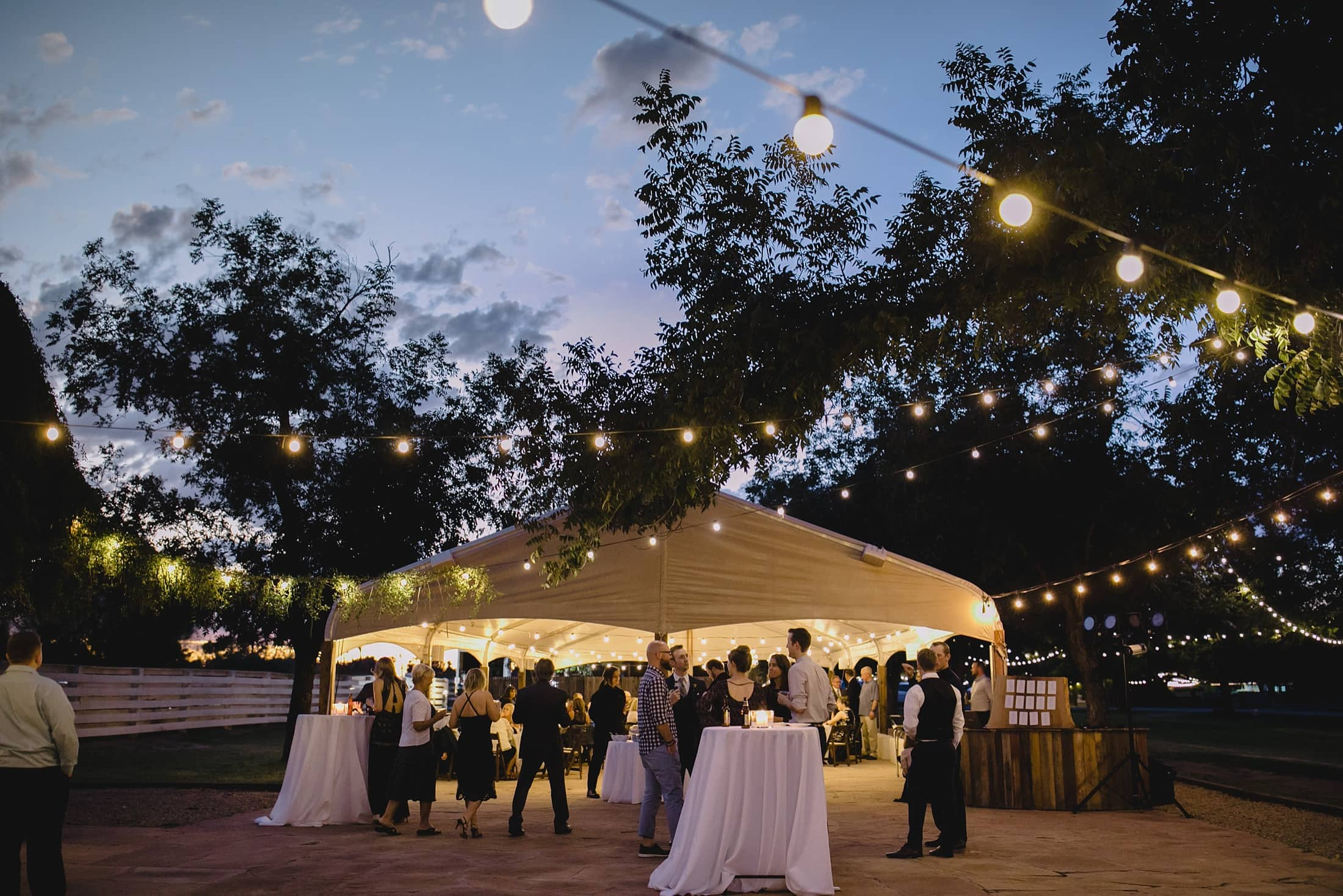 evening wedding reception at Farm at South Mountain Phoenix