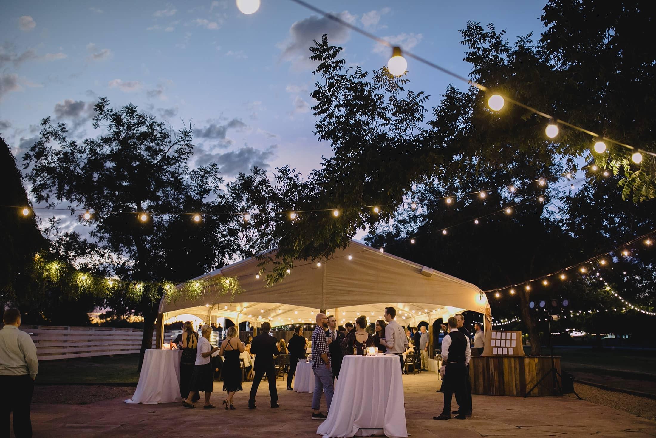 evening wedding reception at Farm at South Mountain Phoenix