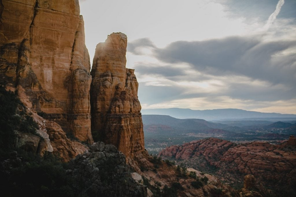 Landscape view of cathedral rock on a cloudy November day at sunset