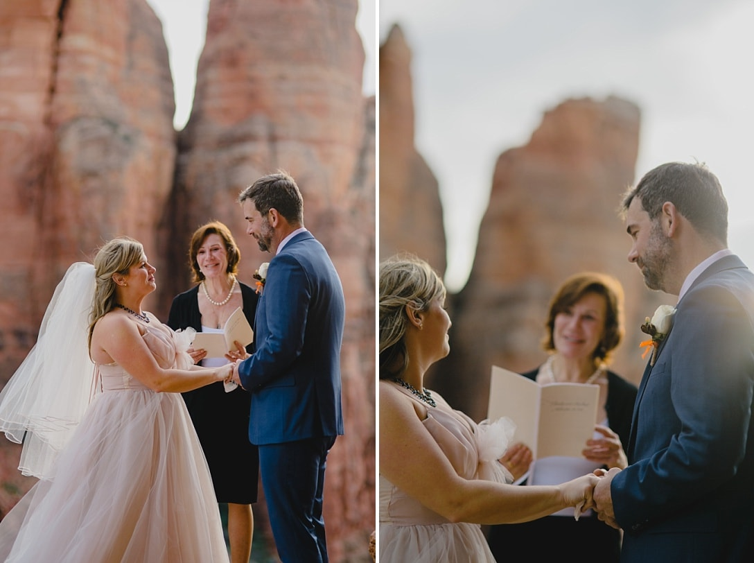 Sedona wedding officiant marries a couple in the Sedona mountains