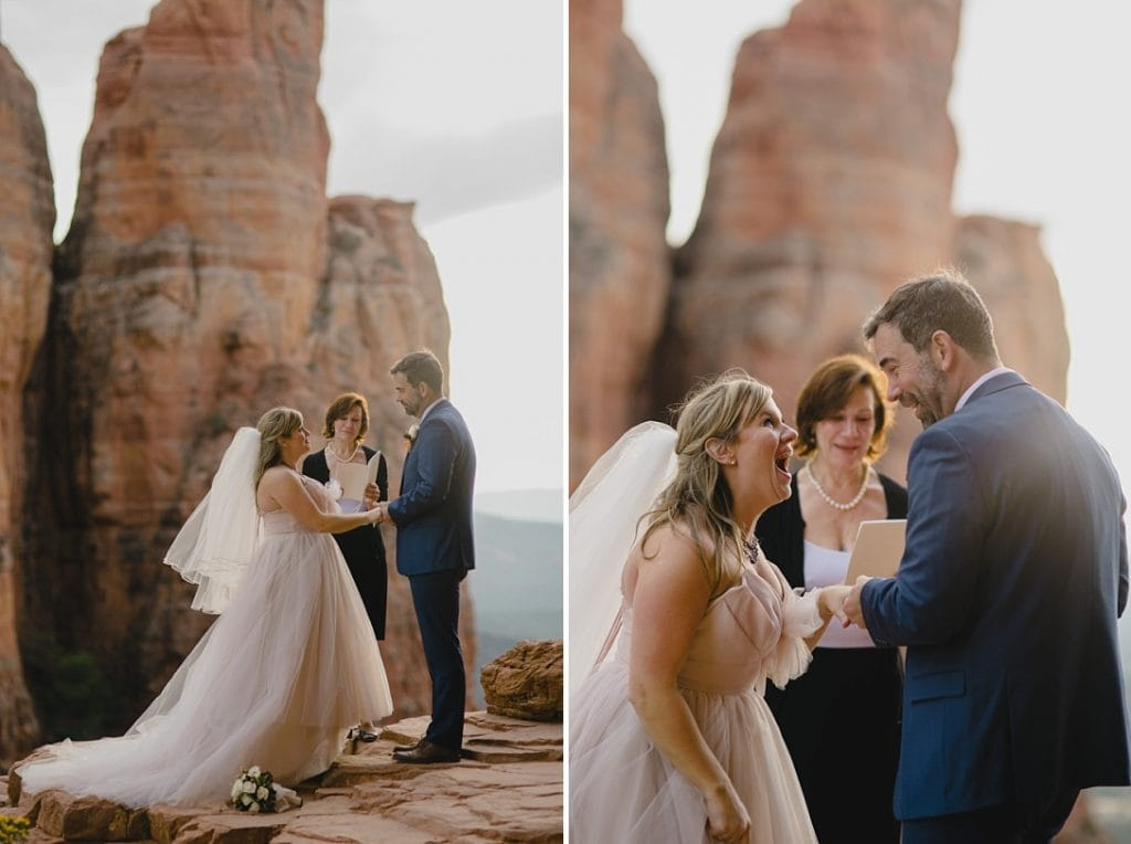 Officiant marries a couple in the Sedona Mountains
