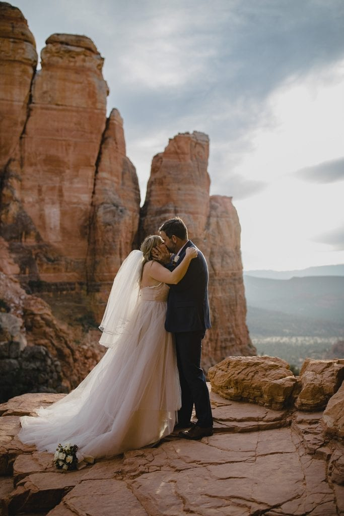 Bride and Groom's first kiss at the end of the wedding ceremony in Sedona
