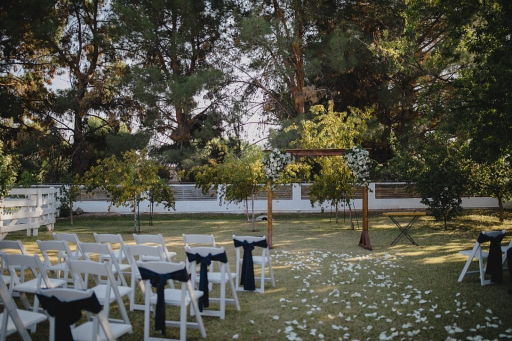 Backyard ceremony in Arizona with trees