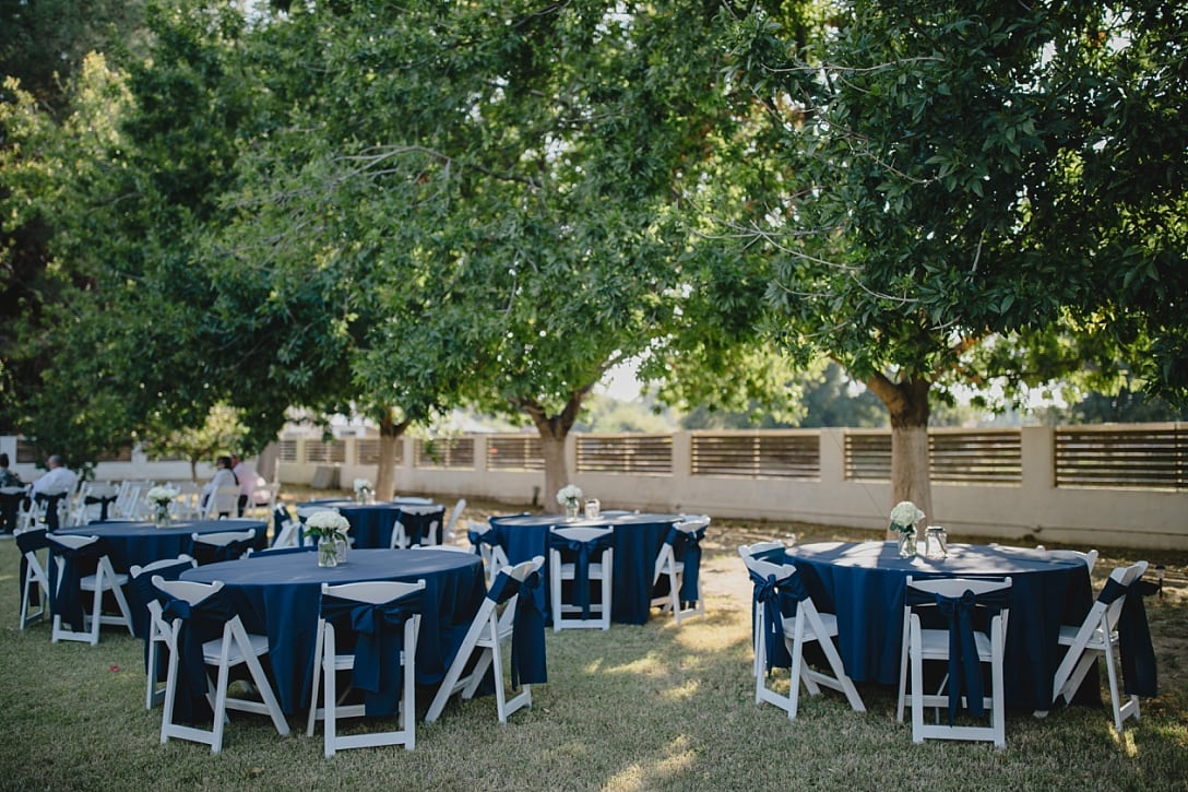 wedding reception with blue linens at Modern Farm