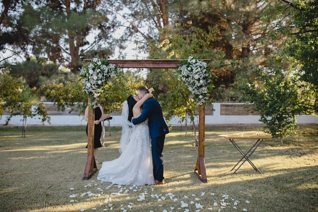 beautiful backyard wedding venue in Gilbert AZ with big trees