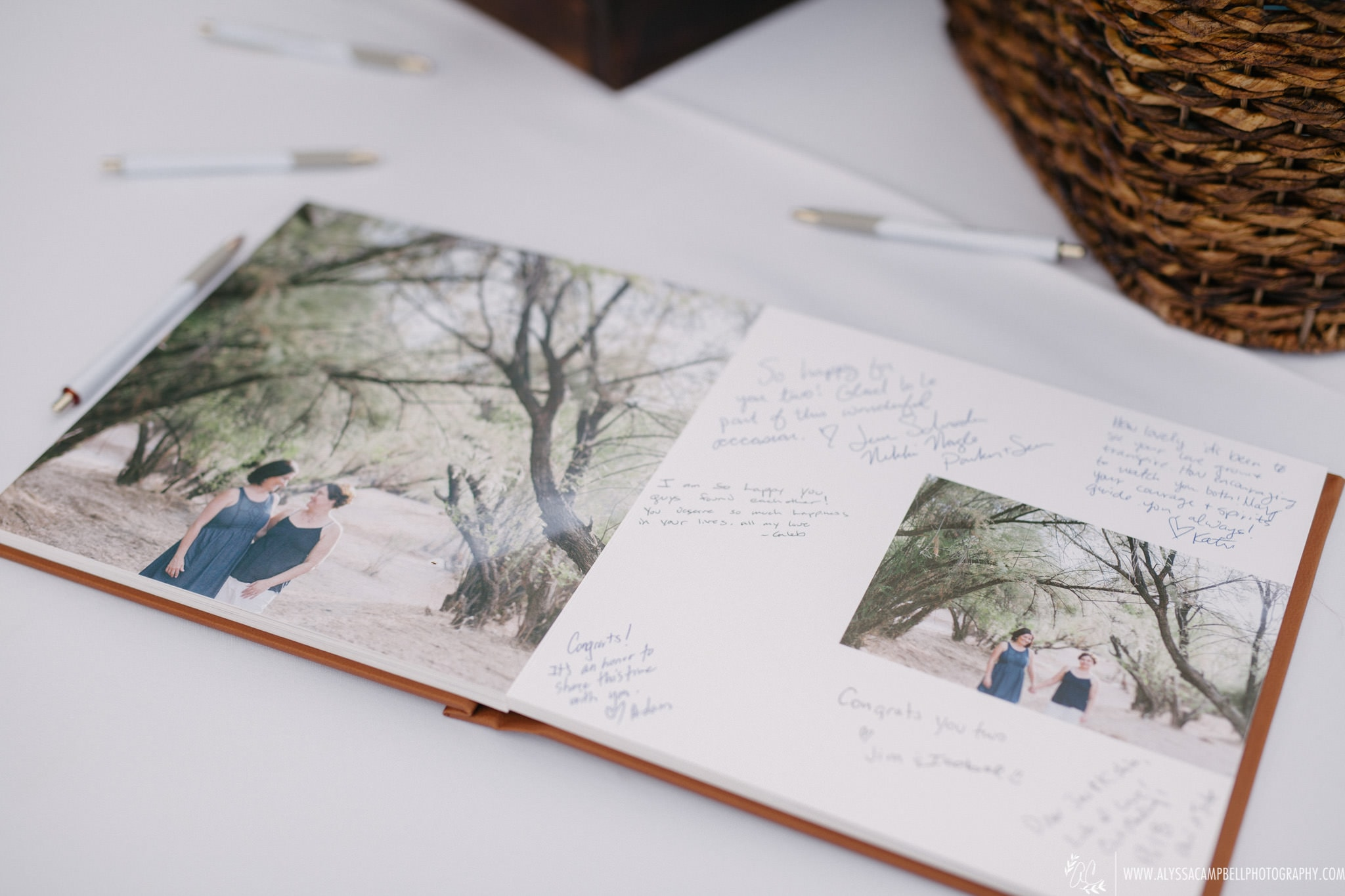 custom wedding photo guestbook with engagement photos