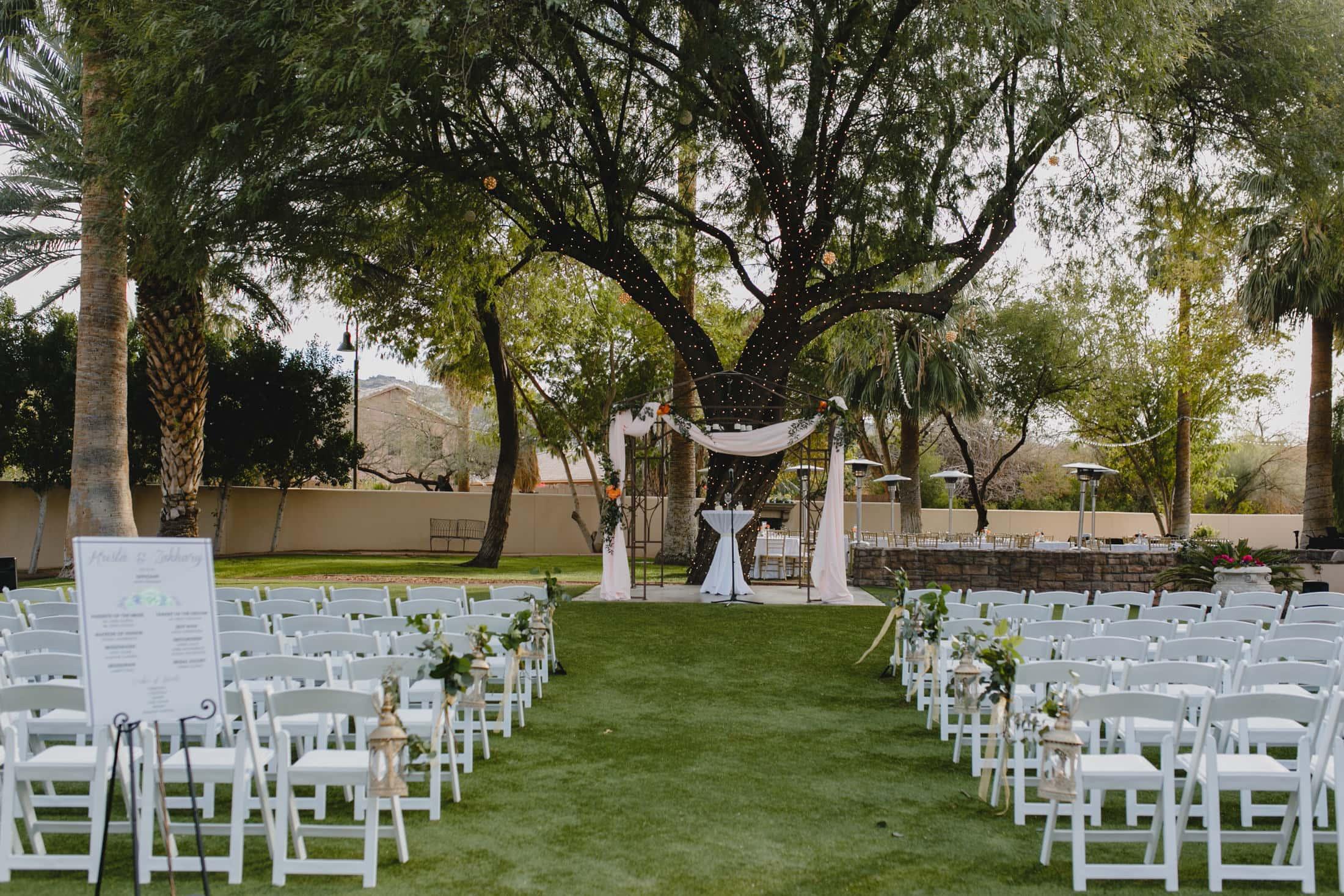 Secret Garden Arizona wedding ceremony space with large trees