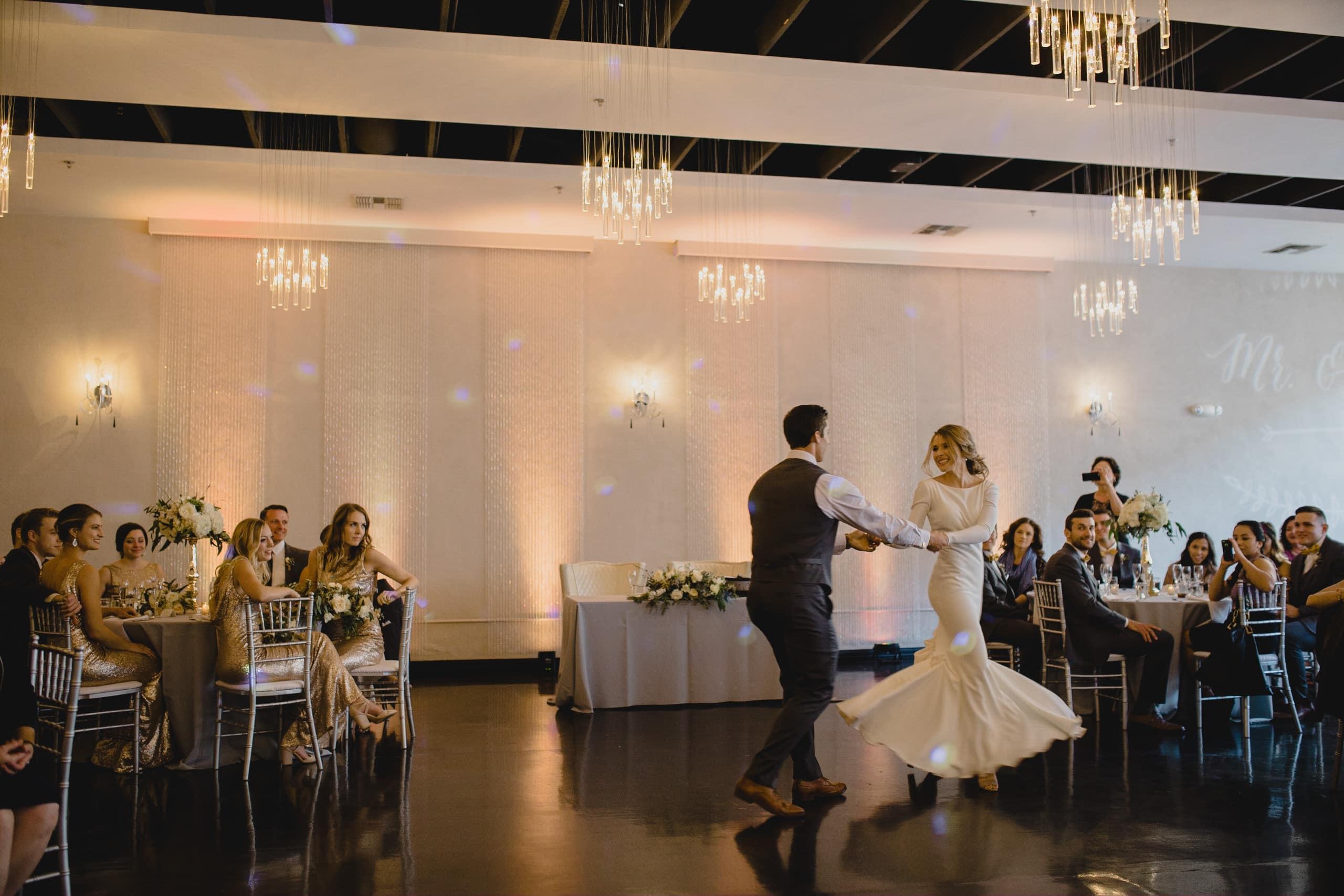wedding reception at Soho63 bride and groom dancing
