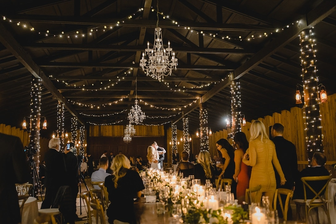 Desert Foothills wedding barn reception first dance with twinkle lights